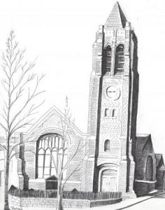 Sketch of First Reformed Church of Nyack (c) Bill Batson