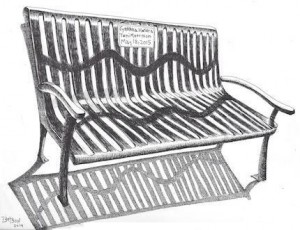 Sketch of Nyack's Bench by the Road, (c) Bill Batson