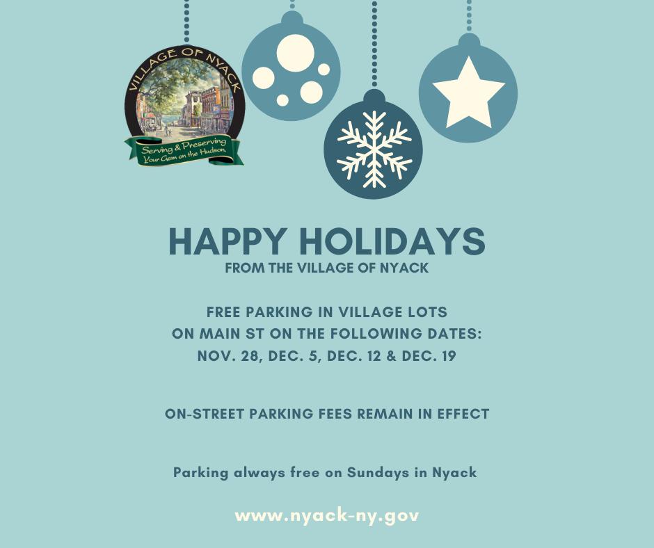 Village of Nyack Free Holiday Parking Days